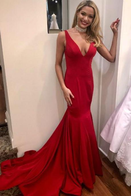 Red Deep V-Neck Prom Dresses, Mermaid Straps Prom Dress,Backless Evening Dresses, Long Prom Dresses,Custom Made,Floor Length ,Evening Dresses