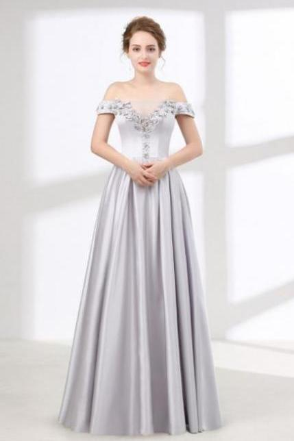 Off The Shoulder Silver Satin Prom Dresses,Beading Flowers Prom Dress,Floor Length Evening Dresses