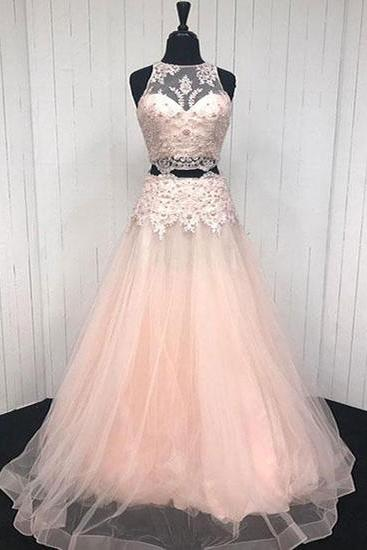 Elegant pink V tulle two piece long prom dresses, pink lace appliqué homecoming dress,Evening Dresses