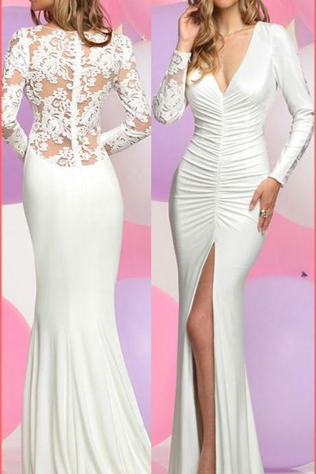 v neck lace long prom dress,long sleeves mermaid prom dresses, high slit evening dress