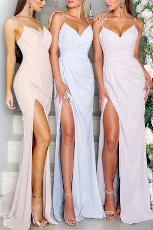 Sexy Spaghetti Straps Bridesmaid Dress,V-neck Mermaid Bridesmaid Dresses With Slit, Floor Length Bridesmaid Dresses