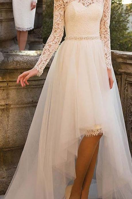 Alluring Tulle & Lace Bateau Neckline Wedding Dresses, Wedding Dress With Belt ,Detachable Skirt Bridal Dresses,Wedding Dresses