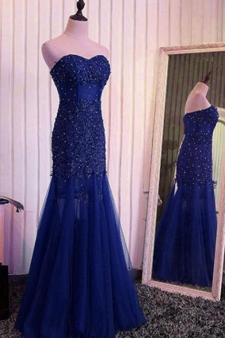 dark blue mermaid lace wedding dress,Evening Dresses