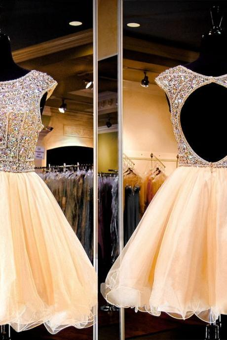 Princess Scoop Neck Party Dresses,Tulle Short/Mini Beading Prom Dresses ,Short Party Dress