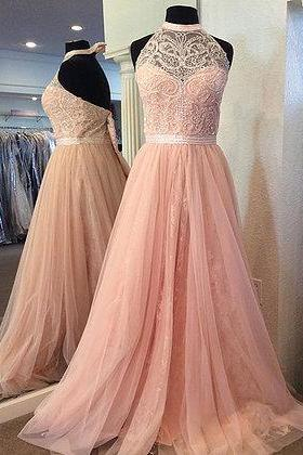 Pink tulle strapless Prom Dresses, long A-line crystal prom dress, backless long evening dress, Prom Dresses