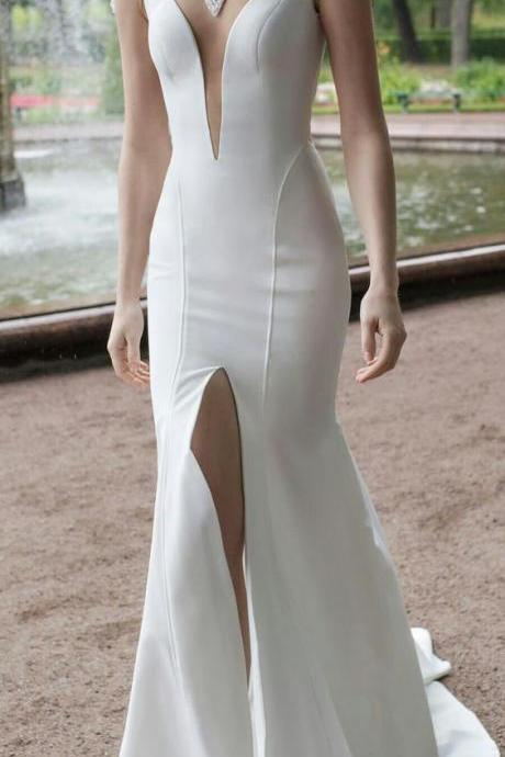 charimg white evening dress high slit prom dress sexy mermaid white party dress