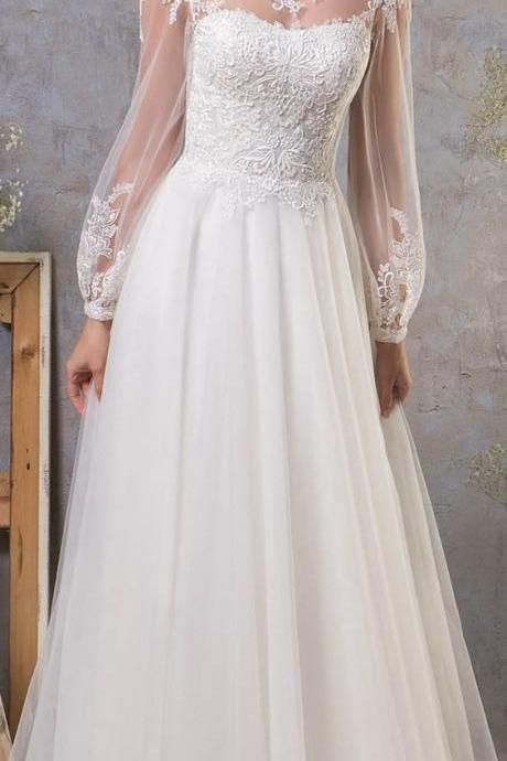 long sleeve wedding dress ,backless wedding dress ,tulle bridal dresses,elegant wedding dresses