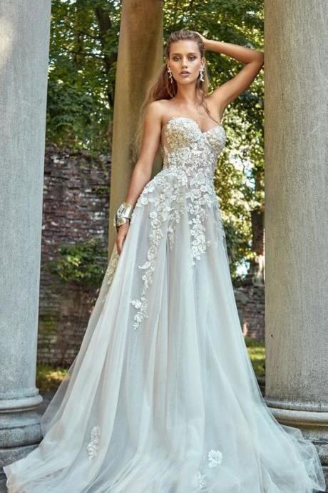 stunning wedding dress, sexy luxury strapless wedding dresses,evening appliques Evening stunning sexy bridal dress