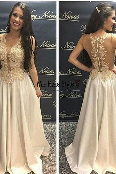 Long Sexy Lace Prom Dresses,A-line Lace Evening Dress,Sexy Illusion Lace Party Dress,Off White Lace Graduation Dress
