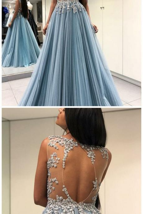 A-Line evening dresses, Round Neck prom dress, Open Back party dress, Sheer Long Blue Prom Dress with Appliques
