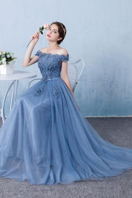 off-shoulder party dress, chiffon Appliques prom dress, Floor-Length evening dress ,Sexy Party evening Dress, A-Line Deep chiffon Tulle Lace Length Long Sexy Party Prom Dress