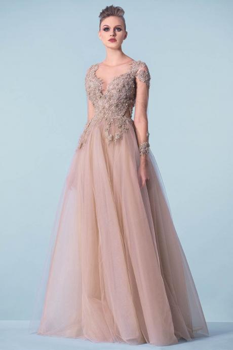 Tulle Prom Dresses with Applique,pink long sleeeve party dresses