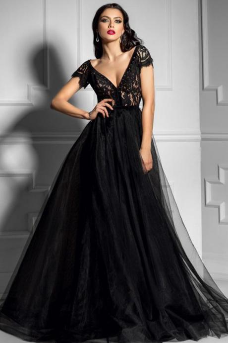 Black V-Neck Prom Dresses with Sleeves,sexy v-neck lace evening dresses