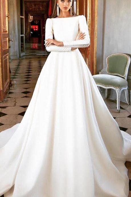 Simple Style White Wedding Dress,Long Sleeves Bridal Dress,A-Line Wedding Gown,Popular Wedding Dresses,Dress for Bridal