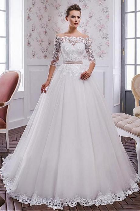 Tulle Neckline A-line Wedding Dress ,Weeding Dress With Lace Appliques & Belt,New Fashion,Custom Made Bridal Dresses