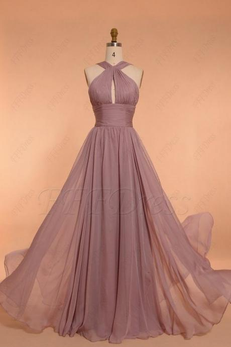 Halter Prom Dress,Party Dress,Long Evening Dress,Chiffon Party Dress