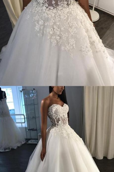 A-Line Sweetheart Sweep Train Weeding Dress,Tulle Appliques Wedding Dresses,Bride Dress