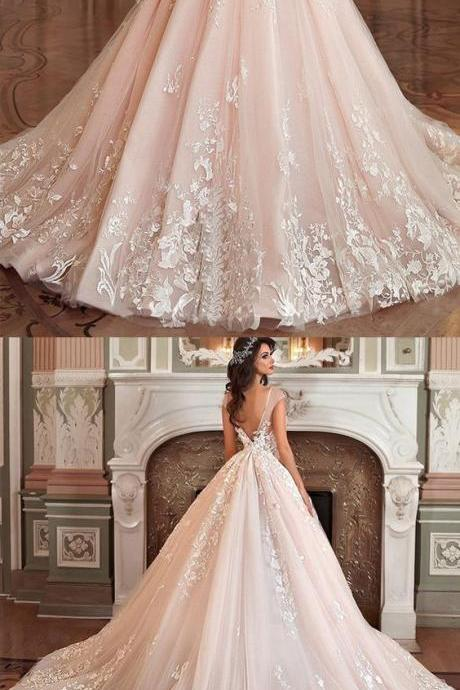 Stunning Tulle & Organza Wedding Dresses,Bateau Neckline Ball Gown Wedding Dress ,Lace Appliques Bridal Dresses,3D Flowers & Beadings Wedding Dresses