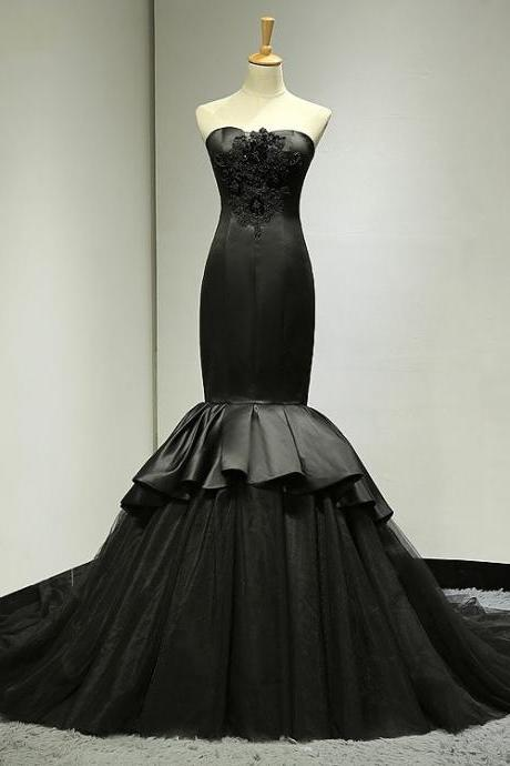 Mermaid Black Wedding Dress,Trumpet Black Evening Dress, Bridal Dresses,Wedding Party Dress,Custom Dress
