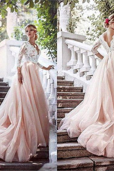 Blush Pink Prom Dresses,Ball Gown Prom Dress,Lace Prom Dress,Simple Prom Dress,Tulle Prom Dress,Simple Evening Gowns,Cheap Party Dress,Elegant Prom Dresses