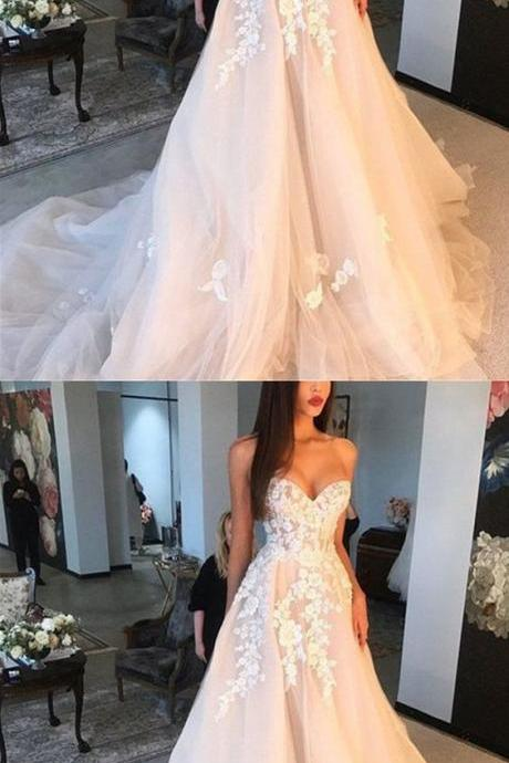 Amazing Lace Embroidery Wedding Dress,Sweetheart Bodice Corset Bridal Dresses,Tulle Wedding Dresses Princess