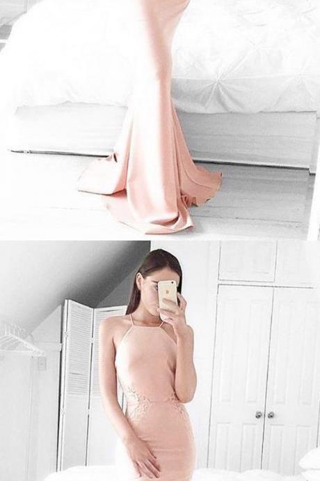 Mermaid Pink Square Sleeveless Sweep Train Prom Dress with Lace