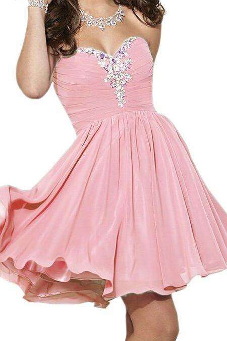 Short Chiffon Homecoming Dresses,Sweetheart Neck Crystals Beaded Party Dresses, Custom Made Party Dresses