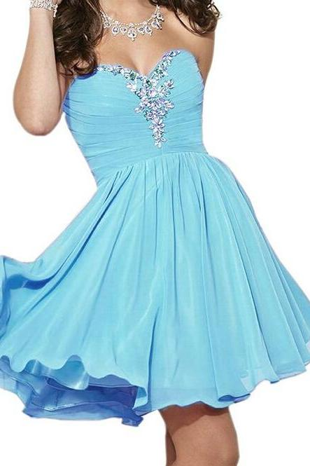 Short Chiffon Homecoming Dresses,Sweetheart Neck Crystals Beaded Homecoming Dress, Custom Made Party Dresses