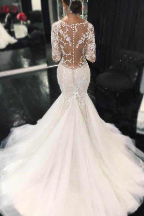 Sexy Illusion Back Long Sleeves Lace Mermaid Wedding Dresses Custom Made,Wedding Dress