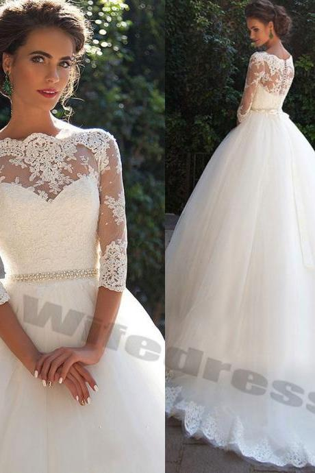 Lace Wedding Dress Bridal Ball Gown 3/4 Sleeve Size