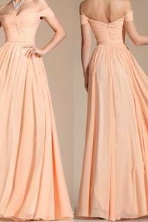 Custom Newest Chiffon Prom Dress,A-Line Prom Dress,Off The Shoulder Prom Dress,Backless Evening Dress