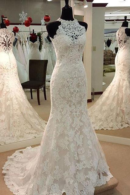 Custom Charming White Lace Wedding Dress,Halter Bridal Gown,Sleeveless High Quality Wedding Dresses
