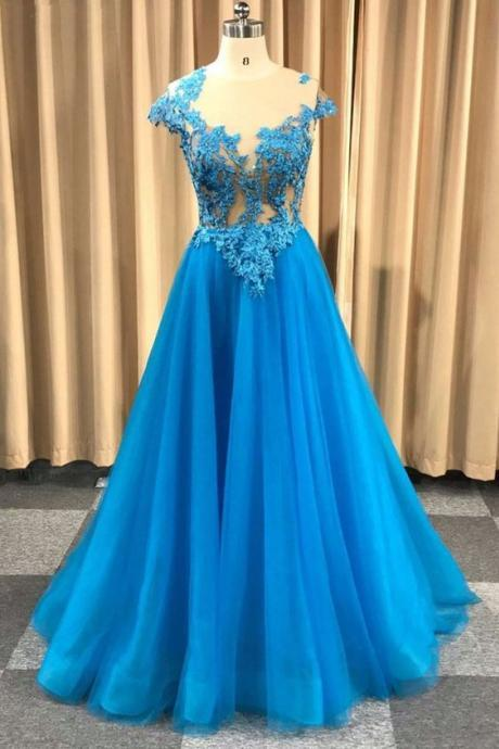 Light Blue Round Neck Prom Dresses,Long Cap Sleeve Tulle Evening Dress, Prom Dress
