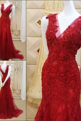 Custom Made Red Lace Prom Dress,Sexy V-BackEvening Dress,Sleeveless Party Gown,Beaded Prom Dress, Lace Prom Dresses,Sleeveless Evening Dress