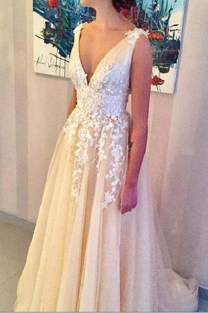 Deep V-neck Wedding Dresses,A-line Appliques Bridal Gown, Long Wedding Gown