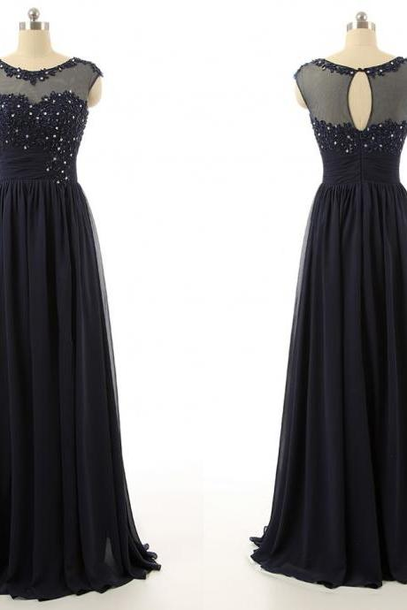 Scoop Neck Long Chiffon Prom Dresses Crystals Beaded Women Dresses