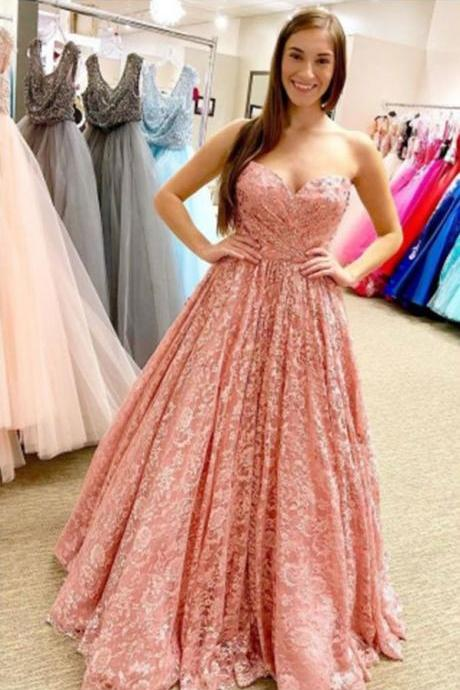 Pink Lace Prom Dresses, Sweetheart Pink Prom Dresses, Long Prom Dress