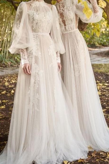 Elegant beach wedding dresses boho chic bride dress,A Line wedding Dress, Lace Applique wedding Dresses