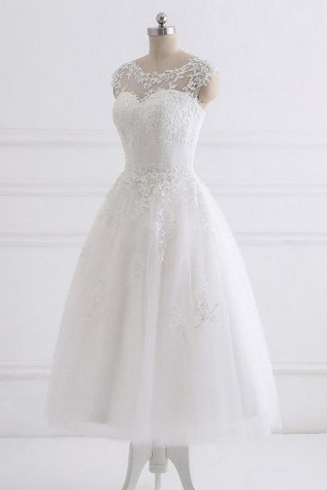 White tulle A-line simple mid-length party dress, prom dress with lace appliqués
