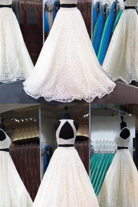 Two Piece Jewel White Lace Prom Dress with Beading Pearls Open Back,Long Evening Prom Dresses