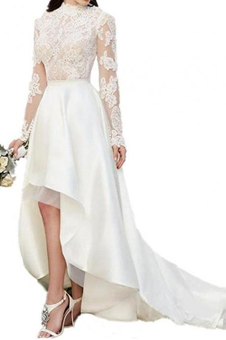 Cheap Ivory Lace Beach Wedding Dresses Long Sleeves,Wedding Gown,Bridal Gown