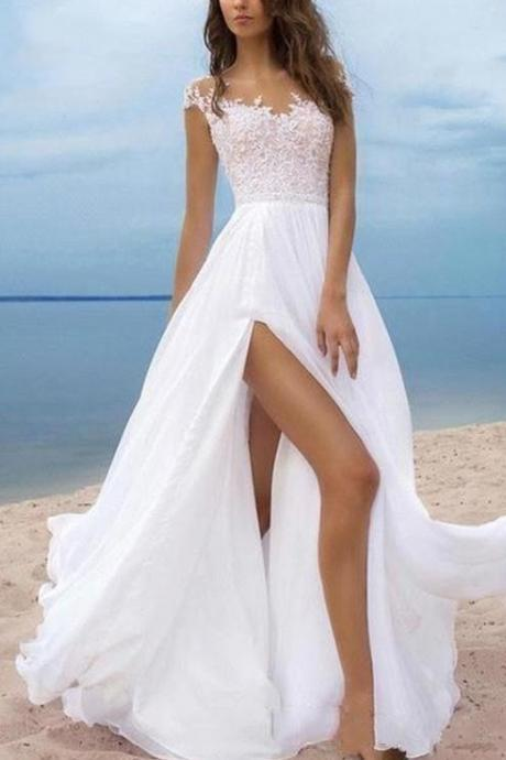 Simple Side Split Beach Wedding Dresses, With Sleeves Sheer Neckline Draped Chiffon Bridal Dress, Wedding Gowns Country,Wedding Dress