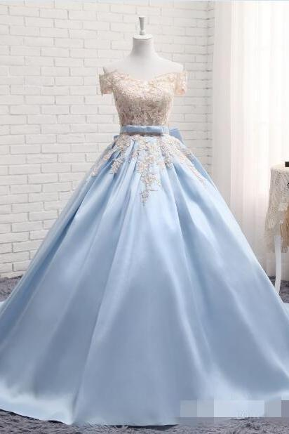 Baby Blue Off The Shoulder Sleeves Prom Dresses, Ball Gown Cheap Applique Prom Dress,Pearls Bow Ribbon Sweet 16 Dress Evening Gowns