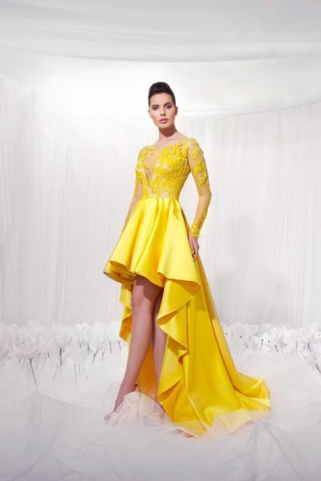 Charming Yellow Bridesmaid Dresses,Long Sleeve Bridesmaids Dresses, Lace Applique Prom Dress Evening Gowns