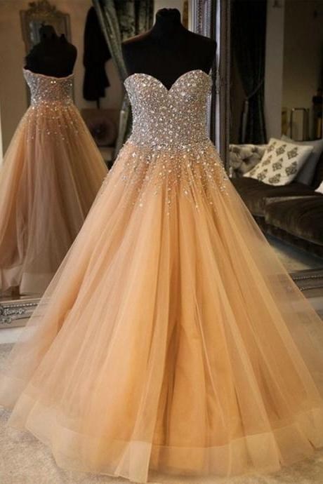 Luxury Champagne Strapless Quinceanera Prom Dresses ,Long Crystal Beaded Prom Dress, Beading Sequin Sweet 16 Dress Pageant Party Dress