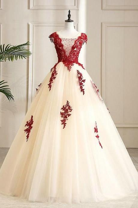 Burgundy Lace Embroidery Ball Gown Prom Dresses, Empire Waist Beads Cap Sleeve Square Vestidos De Quinceanera Dress