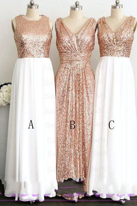 Gold Sequined Bridesmaid Dresses Long V-Neck Jewel Collar Shinning Pleats Cheap Floor-Length New Formal Prom Gowns Evening Wear Dress Wedding