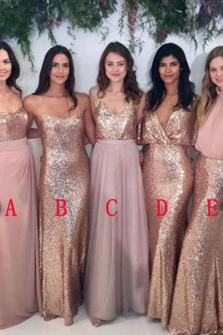 Cheap Bridesmaids Dresses, Long Sequined Chiffon V-neck Bridesmaids Dress,Open Back Wedding Dresses Party Dress Prom Gowns