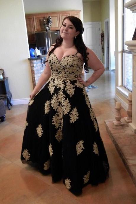 Plus Size Gold And Black Party Prom Dresses,Spaghetti Sweetheart Applique Prom Dress,Sequins Beads Open Back Formal Evening Gowns