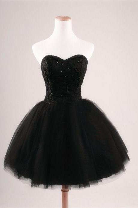 Cheap Ball Gown Sweetheart Beaded Lace Tulle Short Black Prom Dresses Gowns, Formal Evening Dresses Gowns, Custom Plus size Homecoming Graduation Cocktail Party Dresses,Little Black Dresses